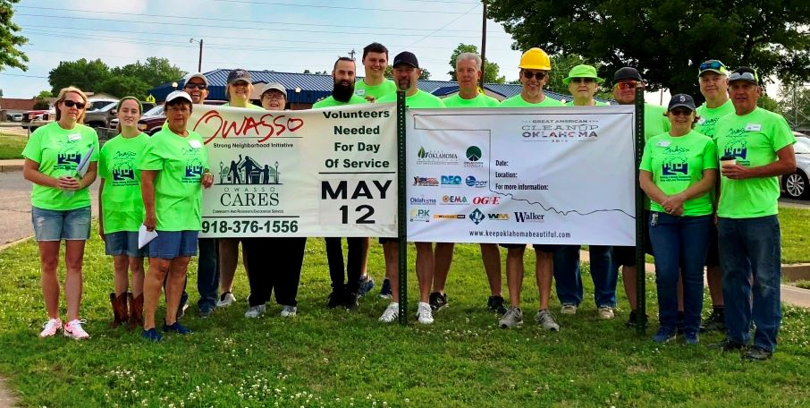 OSNI Owasso CARES Team Leaders with CARES Day banner Spring 2018