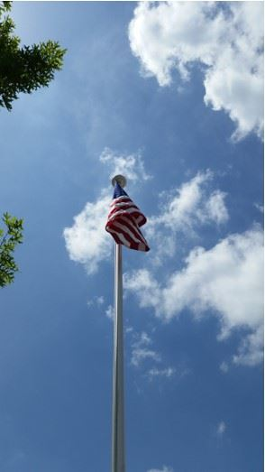 Flag Pole-Flag-Neighborhood Entrance