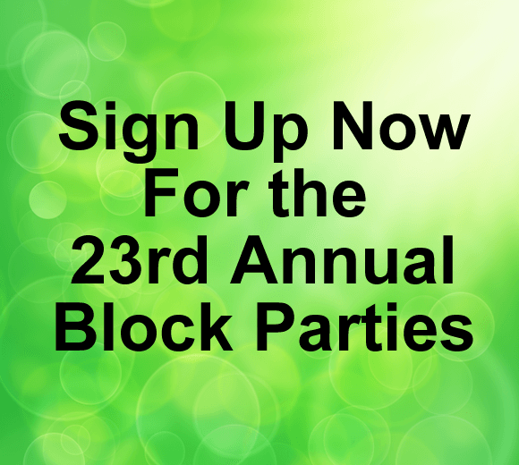 Green background with text about 23rd Annual Block Parties
