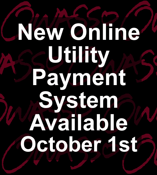 Box with text, New Utility Payment System Online October 1st