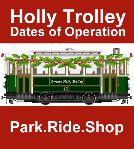 Owasso Holly Trolley illustration with text for dates.