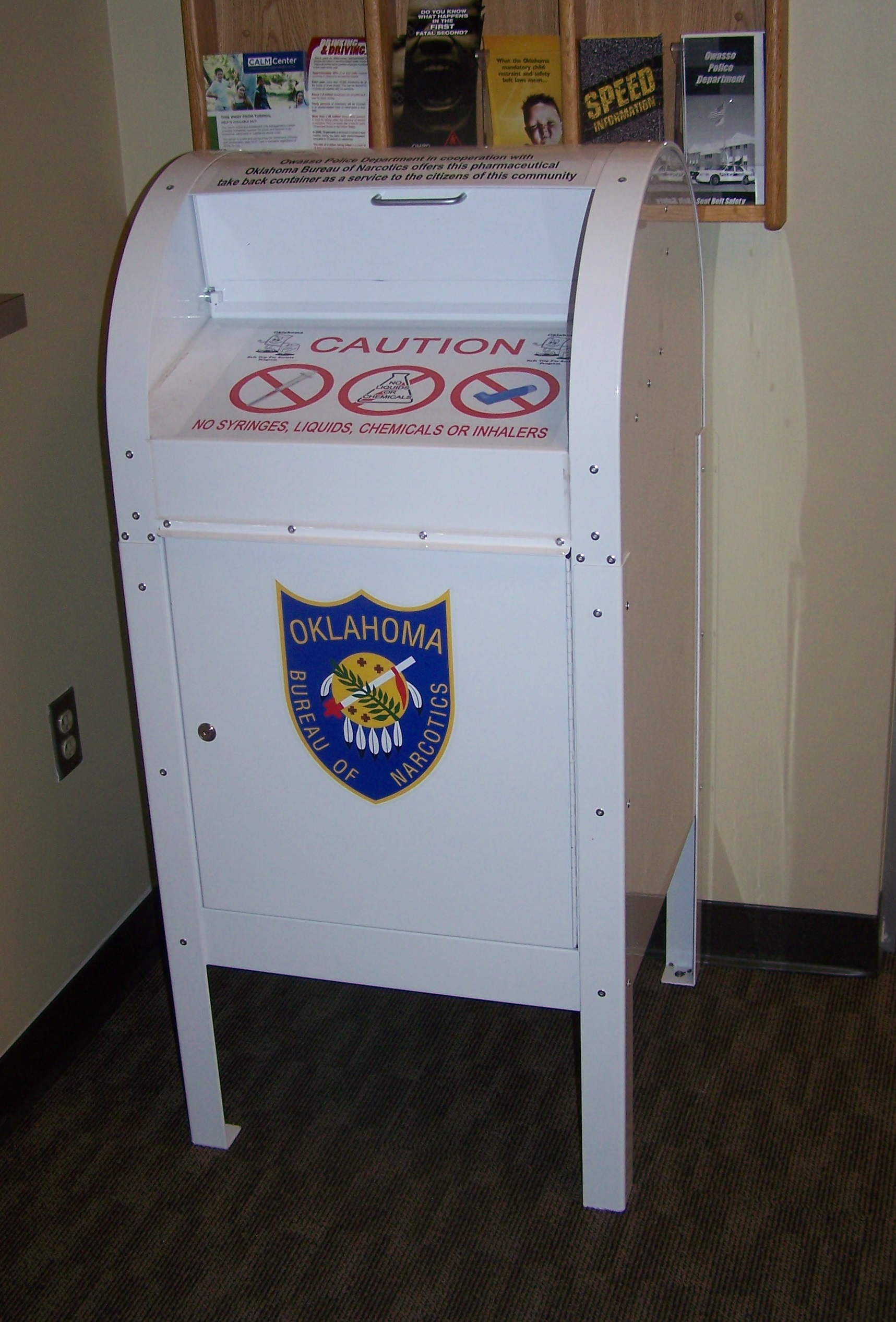Prescription drug drop box located in lobby of Police Chief.