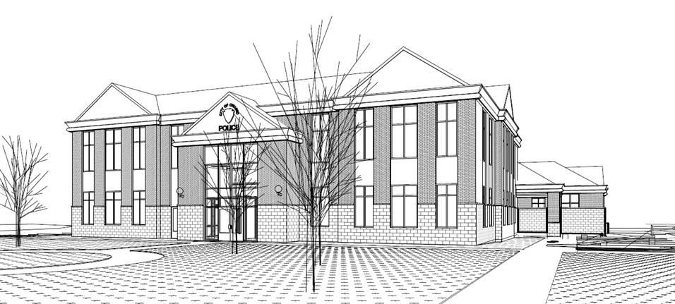 Sketch of the front of the remodeled Owasso Police Department