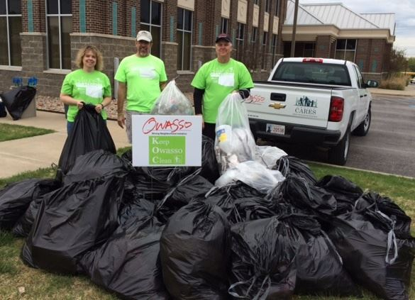 Bags of litter collected at Keep Owasso Clean