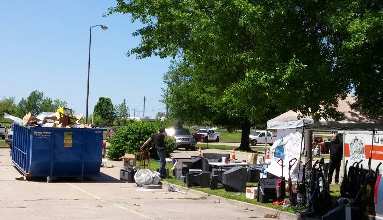 E-waste collection area for Owasso CARES Day of Service